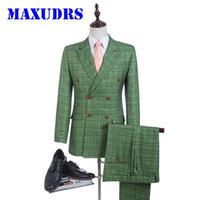 traje a medida hombres tweed al por mayor-Nuevo Diseño Green Glen Plaid Novio Esmoquin Trajes de Tweed Traje del padrino de boda Traje de hombre por encargo Traje de novio de doble botonadura 2 Psc