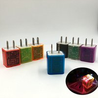 Wholesale Colourful Plug - Transparent colourful LED Light Charging Adapter Dual USB wall US 2.1A 1A Adapter Wall Charger Plug 2 port For samsung galaxy note.