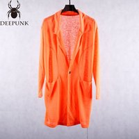 Wholesale High Quality Men S Trench - male new style spring long sleeve long jacket orange black loose casual tide thin trench coat men's cotton fabric high quality blazer outfit