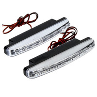Drl Ce Pas Cher-En stock Super 8 LED Super Bright Blanc DRL Car Daytime Running Light voiture lumière Universal IP67 Waterproof Day Lights Running Head Lamp