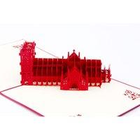 лучшие визитные карточки оптовых-Креативный подарок Kirigami ручной работы всплывающие открытки 3D церковь Buliding открытки наилучшие пожелания подарок бизнес поздравительные открытки