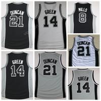 Wholesale Gray Men S Basketball - Free Shipping 20 Manu Ginobili Basketball Jerseys Men Cheap 21 Tim Duncan Jersey 8 Patty Mills 14 Danny Green All Stitching Black White Gray