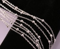 Wholesale 24 Inch Bead Chain - silver plated beads chain wholesale fashion women Costume Accessories cross length 16 18 20 22 24 26 28 30 inch chain necklace G209
