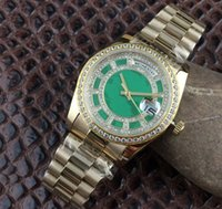 Wholesale Ks Automatic Mechanical Gold - New Modle Luxury Mens watch Day-Date 36mm Rose Gold Diamonds Green Jade Carousel Dial Sapphire crystal Man watches