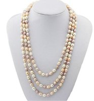 ingrosso perle rosa-7-8mm White Pink Purple Colore misto Riso Shape Natural Pearl Necklace 54inch Single Strand