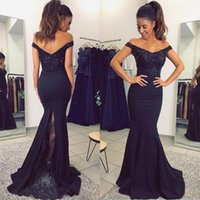 Wholesale Champagne Royal Blue Colors - 2017 Formal Dresses Evening Wear Black Dark Navy Custom Colors Off the Shoulder Crystals Beaded Lace Elegant Mermaid Prom Party Gowns