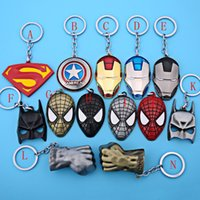 Chaud! 15 Style Captain America Shield Keychain L'Avengers Superman Spider-man Hulk Iron Man Superhero KeyChain Vente en gros