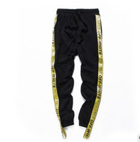 Wholesale Boys Hip Hop Pants - High Quality Drawstring OFFWHITE A yellow ribbon Trousers Hiphop Men Boy Streetwear Hip Hop Joggers Off White Pants Skateboard Sweatpants