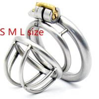 Wholesale Lock Cock Sex - Stainless Steel Arc-shaped Cockring Male Chastity Device Cock Cage Sex Toys for Men Penis Lock Metal Small Chastity Cages G175