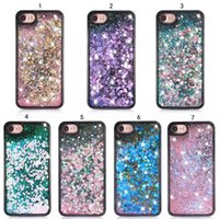Wholesale iphone dynamic sand case - For Iphone7 plus Quicksand Dynamic Liquid TPU Soft PC Case Sand Glitter Bling Diamond Black Cover Transparent