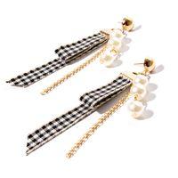 Wholesale Wholesale Ribbon Earrings - Handmade Fashion Lace Pearl Stud Earrings For Women Party Accessories Sexy Velvet Ribbon Acrylic Pearl Long Earrings Fashion Jewelry