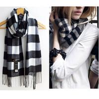 Wholesale Wool Scarfs Wholesale - Wholesale- Warm Winter Fleece Womens Plaid Wrap Scarf Shawl Wool Blend Scarves Lady 2016 Autumn  Winter