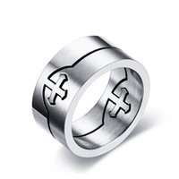 Band Rings split engagement rings - Catholic Titanium Steel Cross Ring Silver Color Can be split Individual Men Cross Rings