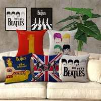 Wholesale Beatles Cases - The Beatles Band Pillow Case Cushion cover Linen Cotton Throw Pillowcases sofa Bed Car Decorative Pillow covers free shipping