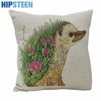 Wholesale Hedgehog Pillows - Wholesale- Pillow Case HIPSTEEN Hedgehog Cotton Linen Square Shaped Decorative Pillow Cover Pillowcase Pillowslip 45*45cm