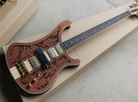 Wholesale Star Bass - wholesale Red Brown Electric Bass Guitar with 4 Strings and Gold Hardware, Leaves the three-dimensional sculpture,White Pearl Stars Inlay