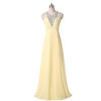 echte fotos gelb abendkleid großhandel-Gelb Chiffon A-Linie Stil Abendkleid Jewel Neck Perlen Real Photo Damen Bankettkleid Attraktiv Open Back