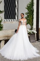 Wholesale Lace Key Hole Back Dress - Luxurious off the shoulder corset lace wedding gowns 2017 Milla nova bridal dresses deep key hole 3D lace appliques on bodice chapel train