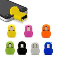 robot android micro usb achat en gros de-Robot Micro USB à USB 2.0 OTG Adaptateur Convertisseur Pour Android Micro Téléphone Mobile Tablet Avec Paquet