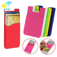 Wholesale iphone silicone case - Silicone Wallet Credit Card Cash Pocket Sticker Adhesive Holder Pouch Mobile Phone M Gadget Samsung