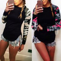 Wholesale Patchwork Blouses - Ladies O-Neck Long Sleeve Tops Womens Camouflage Panelled Patchwork Blouse Pullover Casual T-Shirt Camo Print Shirt Tee Jumper