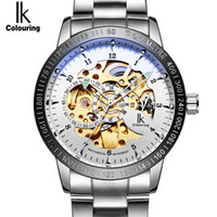Wholesale Steel Spy - IK Colouring Gold Brand Luxury Watches Mens Automatic Skeleton Mechanical Watch Fashion Stainless Steel Sport Luminous Military Spy Watch
