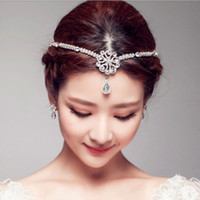 Wholesale High End Crowns Tiaras - new high-end handmade diamond pearl frontlet Tiara Crown bride Pendant Chain Factory Dinah forehead eyebrows