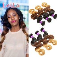 Wholesale G 27 - Indian Human Hair 3 Bundles 1B 4 27 Body Wave Hair extensions 95-100 g Three Tone Color 1B 4 27