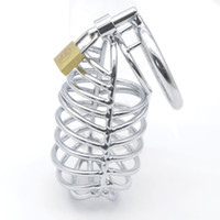 Wholesale Cock Bondage Art - Hot Selling Male Chastity Cage Stainless Steel Chastity Belt Cock Cage Bondage Fetish SM Sex Toys Art Cage Devices