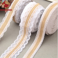 Wholesale Wholesale Trim Rolls - Wholesale- 1 Roll 10M Natural Jute Burlap Hessian Lace Ribbon Roll White Lace Trim Edge Rustic Centerpieces Vintage Wedding Decoration
