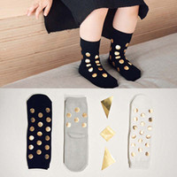 Wholesale Cute Summer Clothes For Boys - Cute Gold dots Cotton Baby Socks boys girls Socks For Kids Ankle Socks Children Sock Toddler Clothes Baby Gift A787