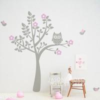 Wholesale Decal Baby Room Owl - tickers fairy Owl Birds Flowers Wall Sticker Tree Decal Mural Wallpaper Children Kids Baby Room Nursery Bedroom 180x180cm Christmas Home ...