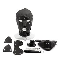 Wholesale Dog Mask Sex - Fetish PU Leather Dog Mask Head Harness Sex Slave Collar and Leash Mouth Gag bdsm Bondage Hood Blindfold Sex Toys for Couples