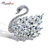 Wholesale Swan Dress For Girls - Wholesale- MloveAcc Luxury Gold Plated High Quality Rhinestones Crystal CZ Zircon Swan Brooches Pins Jewelry for Women Girls Prom Dresses