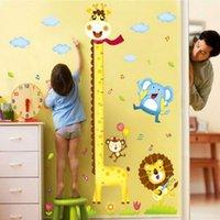 niños midiendo alturas al por mayor-PVC 60 * 90 cm Jirafa Altura de medición Pegatinas de pared Papel tapiz extraíble Niños Habitación para niños Lindo Caliente - Venta Decoración Decoración grande