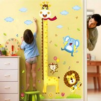 Wholesale height wall stickers resale online - PVC cm Giraffe Measuring Height Wall Stickers Removable Wallpaper Children Kid Room Cute Hot Sale Decor Large Decoration