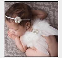 accessoires fotografia nouveau-né achat en gros de-2 styles d'aile blanche accessoires d'aile Fotografia photographie nouveau-né Accessoires avec bandeau bébé accessoires photo Costumes mignons pour les nourrissons