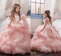 Wholesale Glitz Pageant Dresses Designs - 2017 New Arrival Glitz Pageant Dresses Ball Gown Crystal Kids Frock Designs First Communion Dresses For Girls kids Evening Gowns