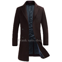 Wholesale Made Windbreaker - Wholesale- Custom made 2017 Europe Style Brown Men Wool Coats Winter Long Casual Windbreaker Slim fit Men Woolen Coats