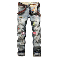 Wholesale Hot Slim Patch - 2017 New Fashion Patch Hole Distressed Jeans Mens Slim Straight Jeans Designer High Quality Washed Full Lenght Hot Sale