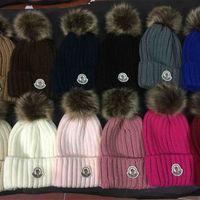 ingrosso pelliccia bobbles-Ricamo all'ingrosso Real Raccoon Fur Pompon donna uomo Inverno Cappello Pelliccia Pom Pom Inverno Berretti Warm Knitted Bobble Hat per Boy Girl