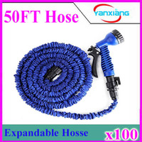 Wholesale Sg Water - Garden hose with Spray Nozzle 3 X expandable blue green water hose Free Shipping 50 ft 100pcs ZY-SG-03