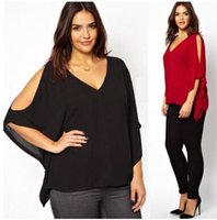 Wholesale Red Chiffon Shirt - 2017 Women Loose short Batwing sleeved blouses Strapless Chiffon Shirts black red color 3XL-6XL PLUS SIZE