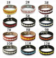 Wholesale Woven Bracelet Silicone - Men and women leather hand rope woven bracelet general Softball baseball sports bracelet