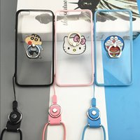 Wholesale Iphone Three Piece - Creative mobile phone sets of acrylic three-piece cartoon ring buckle stents Phone Cases Applicable models iPhone7 and plus