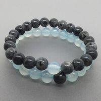 piedra preciosa al por mayor-Pulsera de ágata azul claro de 8 mm, brazalete de labradorita negra, brazalete de piedras preciosas, regalos