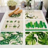 Wholesale food cushion - Green Printing Dinner Mat Cotton Western Food Cushion Multi Function Heat Insulation Family Decoration Articles Hot Sale 6 5my J