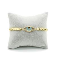 Wholesale Jewelry Turkey Gold Bracelet - Hot Sale Turkey Evil Eye Gold Jewelry Bracelet Cubic Zircon Charm Chain Bracelet with Turquoise ICSL171
