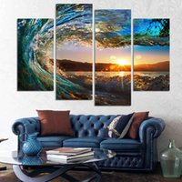 Wholesale Bedding Pictures - canvas art 4 pieces Modern Seascape Painting Canvas Art HD Sea Wave Landscape Wall Picture For Bed Room Unframed F213