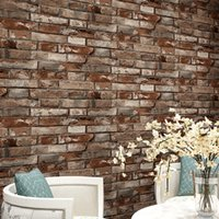 Wholesale Red Wallpaper Rolls - Vintage Cultural Brick Wallpapers 3D Effect Realistic Faux Shabby Red Brick Wall Wallpaper Waterproof PVC Wallpaper Roll for